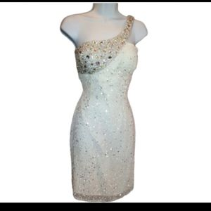 Scala white and silver silk sequin dress NWT
